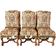Set of Six French Louis XIV Style Beechwood and Needlepoint Dining Chairs from Rose Terrace Mansion
