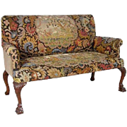 Small English Queen Anne Style Walnut Tapestry Settee