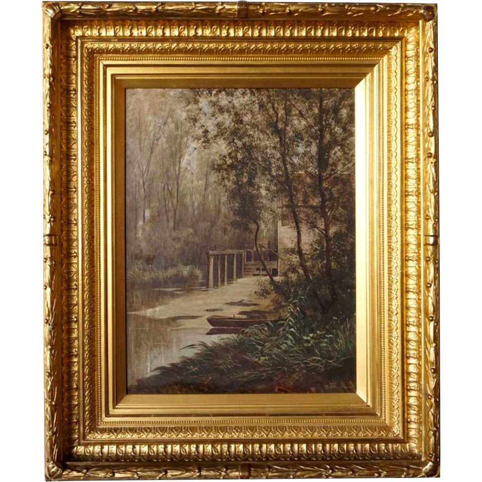 Old Mill Antique Mall Home: Oil Painting On Porcelain Plaque, Old Mill House From