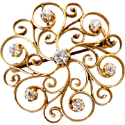 Victorian Gold Openwork and Diamond Flower Brooch