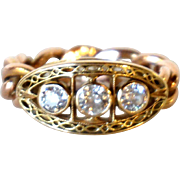 Continental Diamond, Rose and Yellow Gold Chain Link Band Ring
