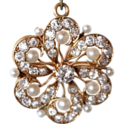 Continental Gold, Pearl and Diamond Flower Brooch and Pendant