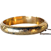Victorian Engraved Gold Filled Child Size Bangle Bracelet