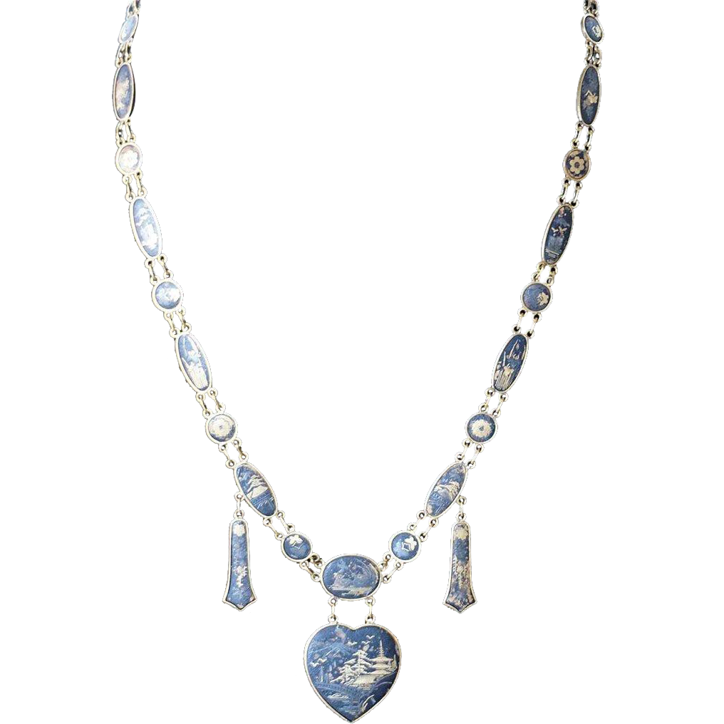 Long Gold Plated Enamel Chinoiserie Heart Necklace