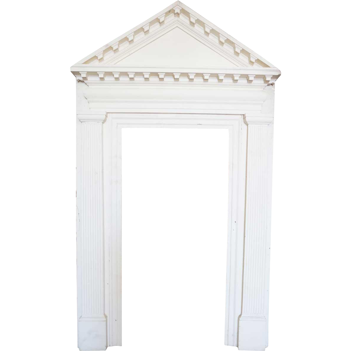 American Colonial White Painted Wood Door Surround