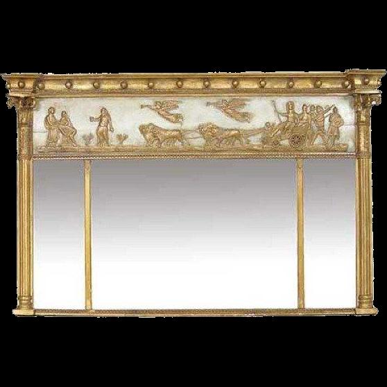 Empire Neoclassical Parcel Gilt Trumeau Mirror
