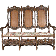English Jacobean Style Caned Oak Chairback Settee