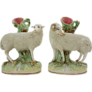 Pair of English Victorian Staffordshire Pottery Ram and Ewe Spill Vases