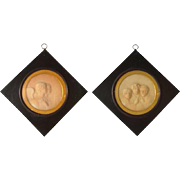 Pair of Miniature English/French Framed Wax Bas-Relief Portraits