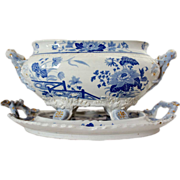 Large English Hicks & Meigh Ironstone Blue Transferware Tureen and Undertray