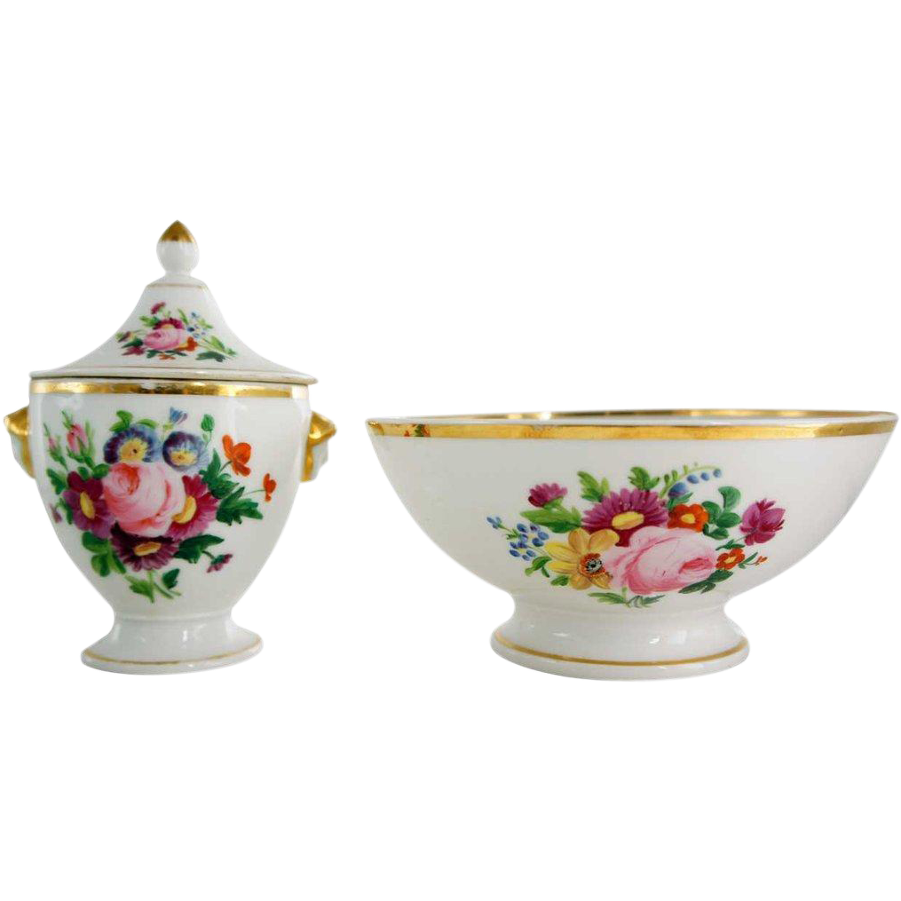French Provincial Porcelain Covered Sugar and Waste Bowl