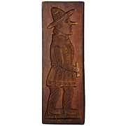 Large Dutch Carved Wood Figural Speculoos Cookie Mold