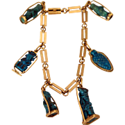 Egyptian 18k Gold and Turquoise Faience Amulet Bracelet