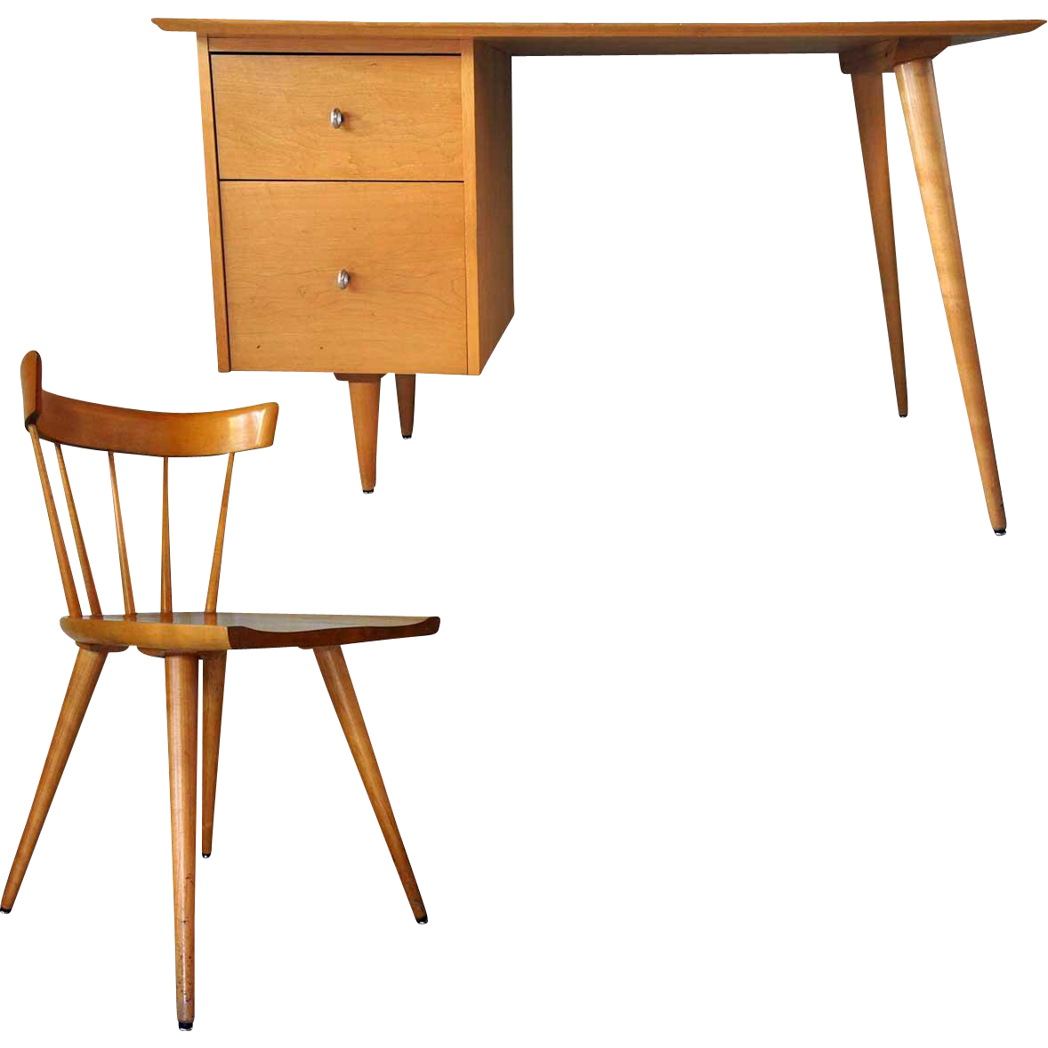 PAUL MCCOBB Planner Group Birch Desk and Side Chair
