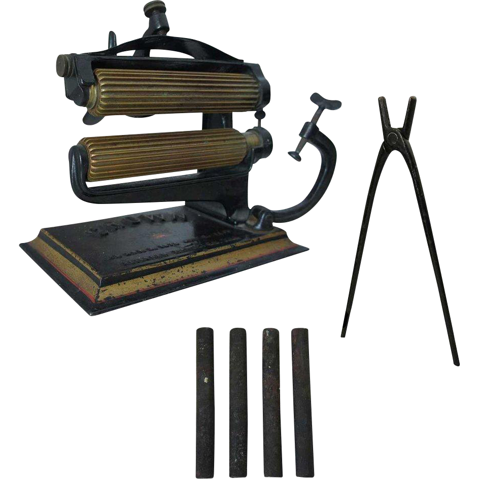 American Machine Company Crown Iron and Brass Fluting Machine with Rods and Tongs