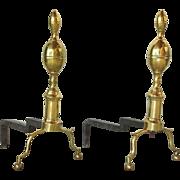 Pair of American Federal Brass Belted Lemon-top Andirons