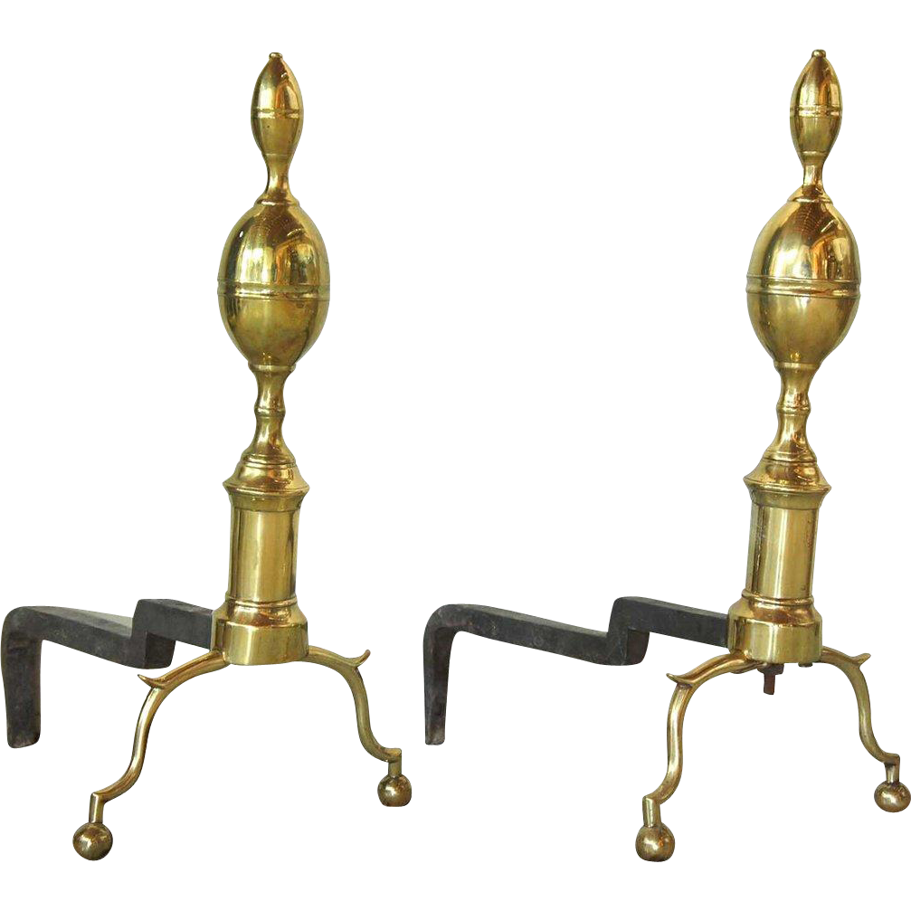 Pair of American Federal Brass Belted Lemon-top Andirons