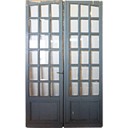 French Painted Pine and Beveled Glass Double Interior Door