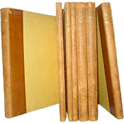 Set of Seven Leather Bound Books: French Plays and Poetry