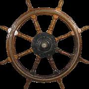 Large Antique Swedish Mahogany Ship's Wheel