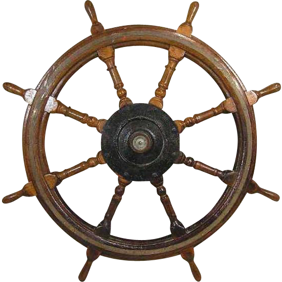 Large Antique Swedish Mahogany Ship's Wheel