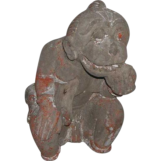 Small Indian Painted Stone Monkey Architectural Bracket