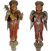 Pair of Large Indian Hand Carved Painted Architectural Figural Brackets