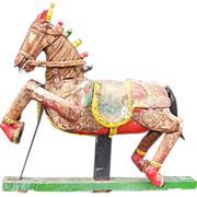 Large Indian Painted Teak Processional Horse Model