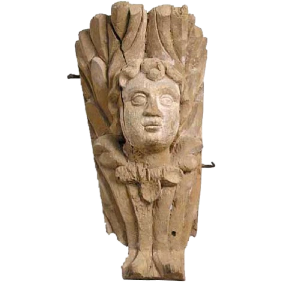 Indo-Portuguese Baroque Teak Angel Mask Architectural Carving