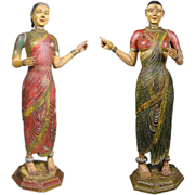 Pair of Large Indian Hand Carved, Painted Teak Female Temple Attendants