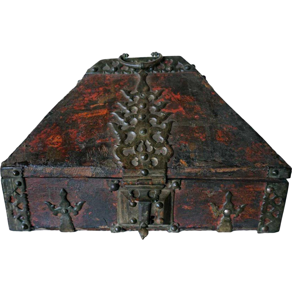 South Indian Brass Mounted and Painted Teak Dowry Box (Nettoor)