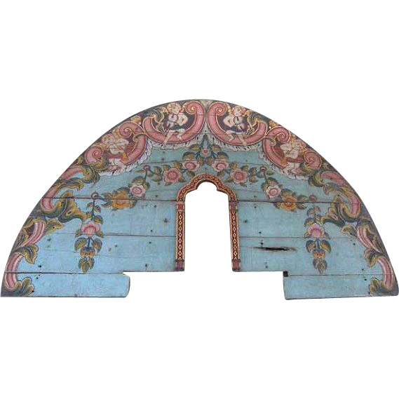 Indo-Portuguese Painted Teak Architectural Altar Fragment