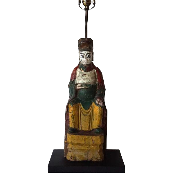 Antique Chinese Folk Art Wooden Buddha as a Table Lamp