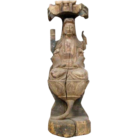 Chinese Painted Wooden Guanyin Statue on a Lotus Seat