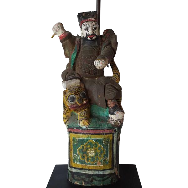 Antique Chinese Painted Wooden Warrior Figure as a Table Lamp