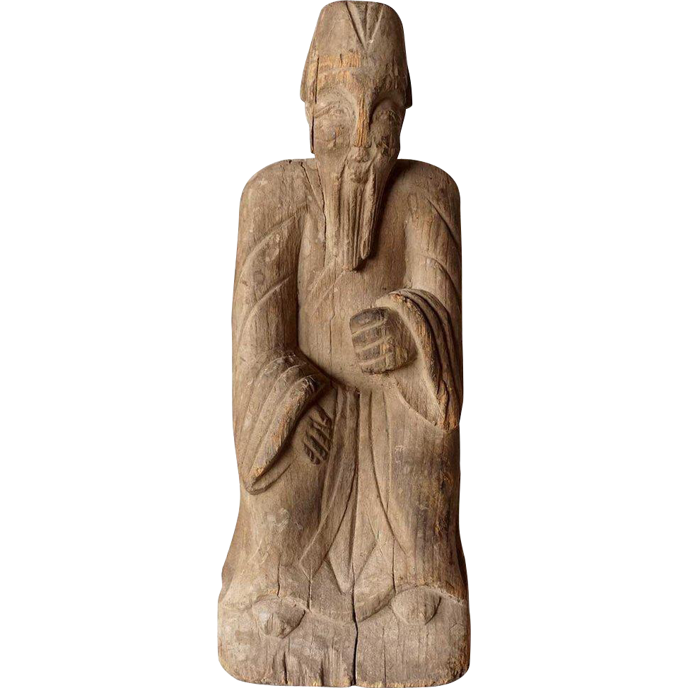 Chinese Wooden Temple Ancestor Statue