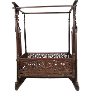 Anglo Indian Rosewood Cradle on Stand