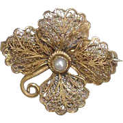 American New Mexican Spitz Jewelry Company Floral Filigree Pin