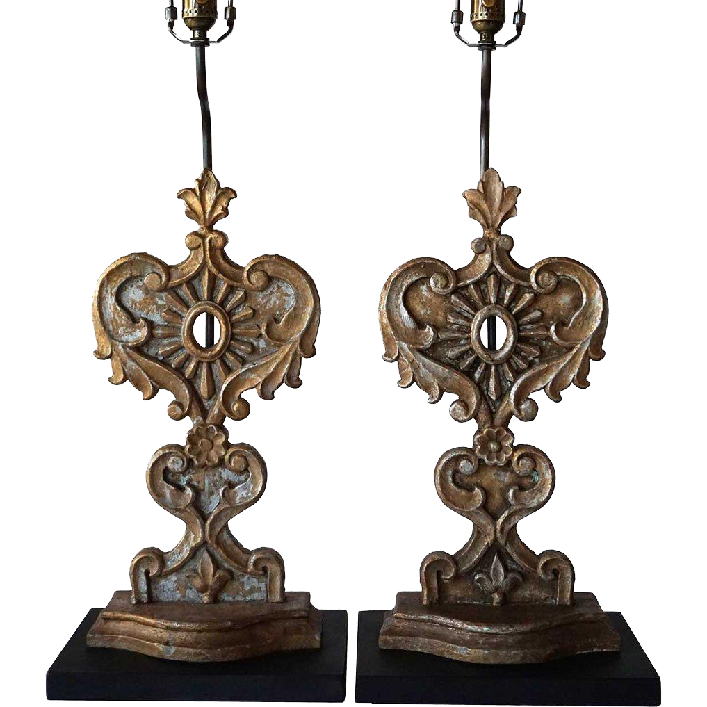 Pair of Indo-Portuguese Teak Reliquaries as Table Lamps