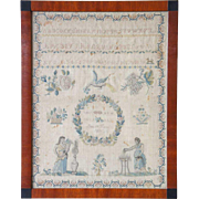 Swedish Framed Needlework Schoolgirl Sampler