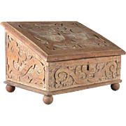 Swedish Baroque Hand Carved Oak Slanted Top Desk Box