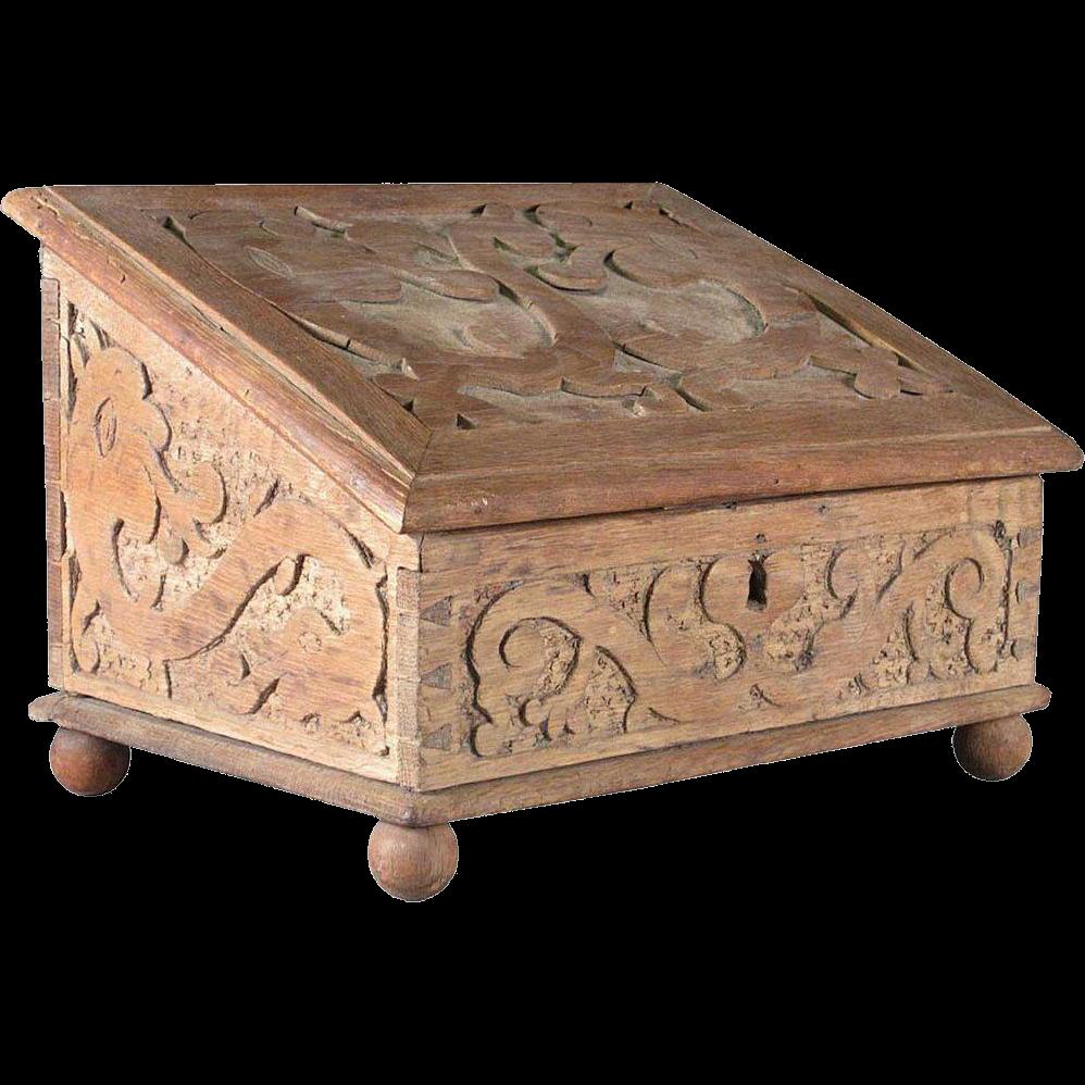 Swedish Baroque Hand Carved Oak Slanted Top Desk Box