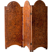 French Art Nouveau Brown Leather Three-Panel Folding Screen