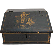 Swedish Black Lacquer Pine and Gilt Desk Box