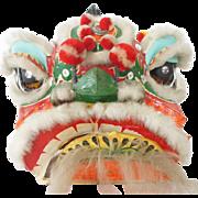 Vintage Chinese Paper Mache Ceremonial Dragon Lion Head Parade Mask