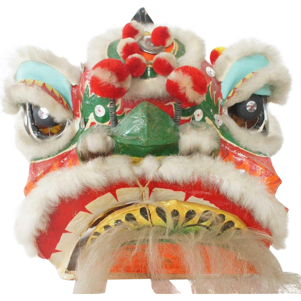 Vintage Chinese Paper Mache Ceremonial Dragon Lion Head Parade Mask