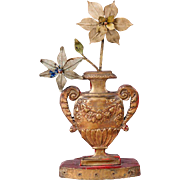 Italian Repousse Brass and Chestnut Reliquary Urn and Flowers