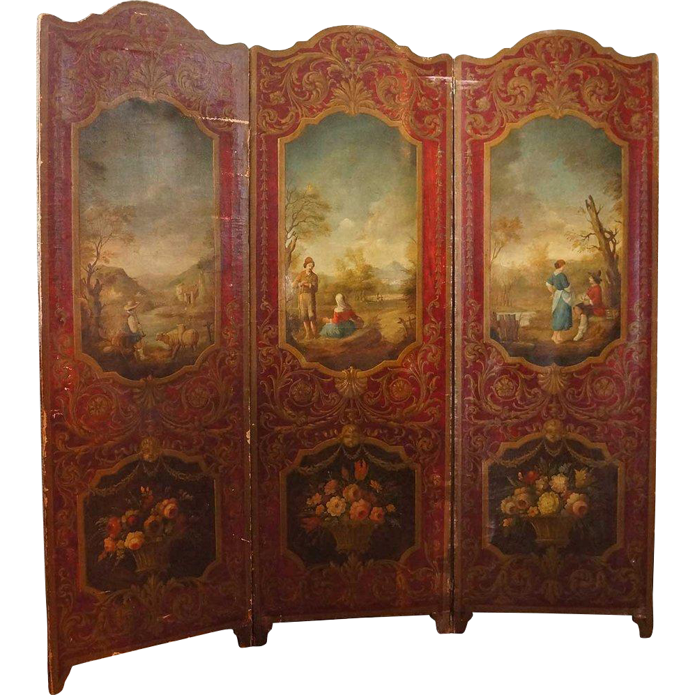 French Louis XV Style Painted Canvas Three-Panel Folding Room Screen