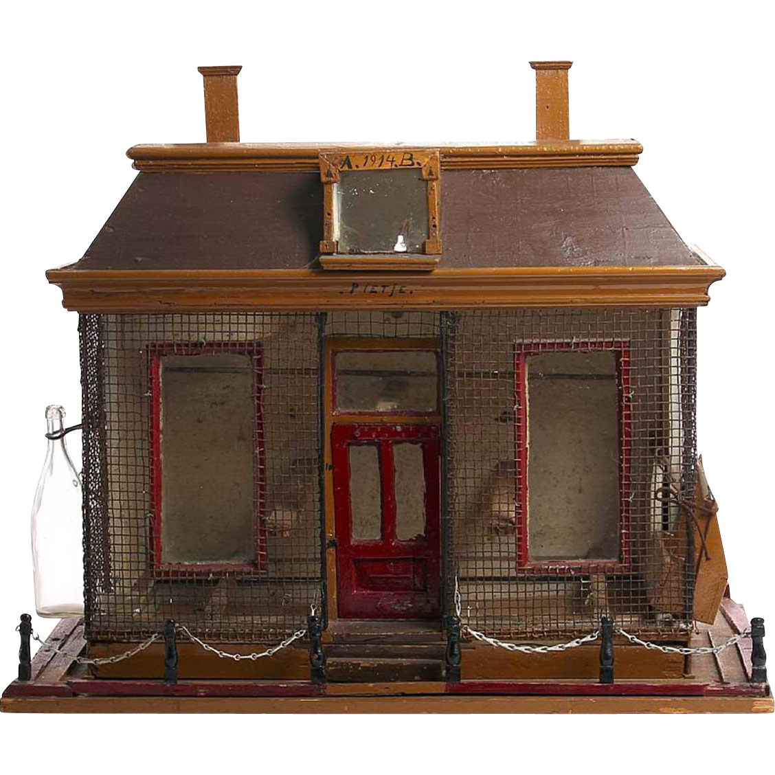 French Folk Art Painted Pine House Form Birdcage