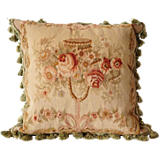 Large French Aubusson Tapestry and Tasseled Pillow